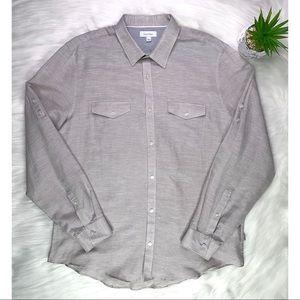 Calvin Klein Size L Mens Gray Casual Plaid Shirt